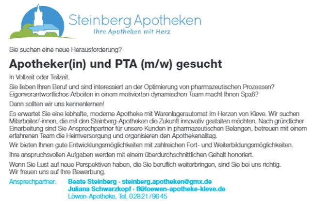 Stellenangebote Steinberg-Apotheken
